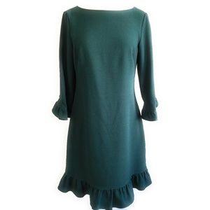 ELIZA J Emerald Fit & Flare Dress Flounce Hem 8